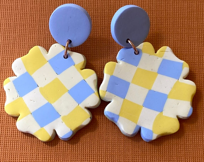 Polymer clay gingham earring, yellow blue check dangle