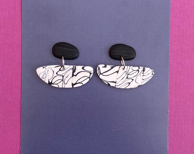 Monochrome polymer clay earring, Contemporary earring, Dangle earring.