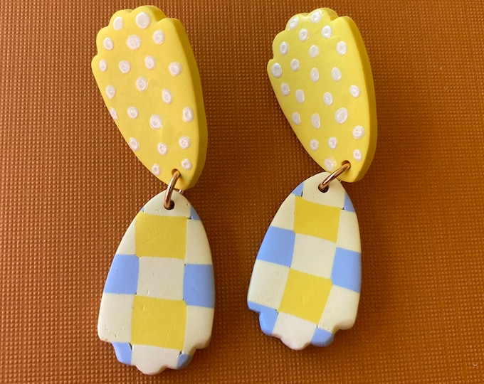Polymer clay gingham earring, checkered earring, yellow blue check dangle.