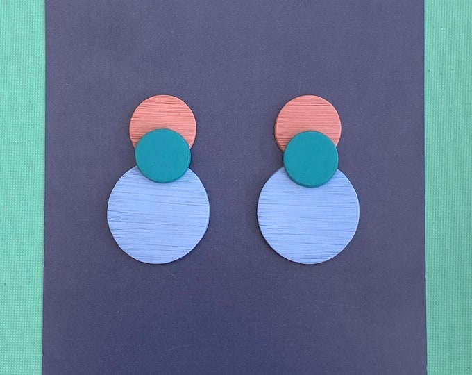 Polymer clay earring, Statement studs, Colourful studs.