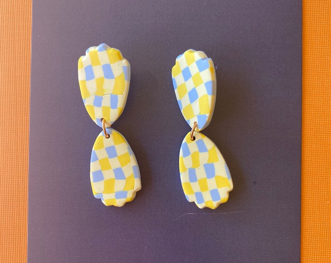 Polymer clay gingham earring, yellow blue check earring, checkered earring, dangle earring.