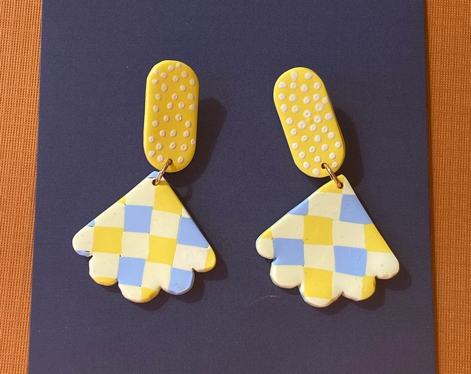 Polymer clay gingham earring, yellow blue checked dangle, checkered earring