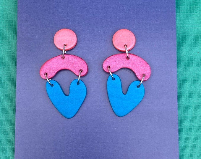 Contemporary polymer clay earring, Multi drop dangle in pearlescent pink, raspberry & blue, Statement earring, Colour block earring