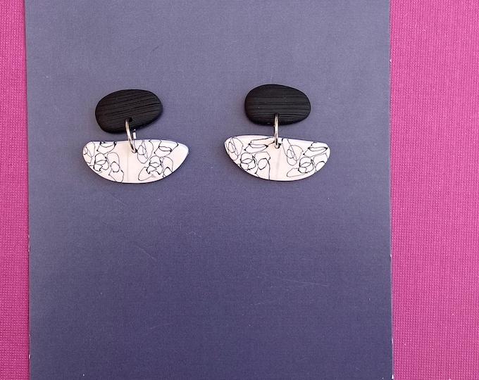 Monochrome polymer clay earring, Contemporary earring, Mini dangle.