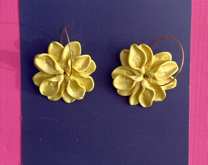 Botanical polymer clay earring, statement hoop, yellow flower earring, Yellow shimmer.