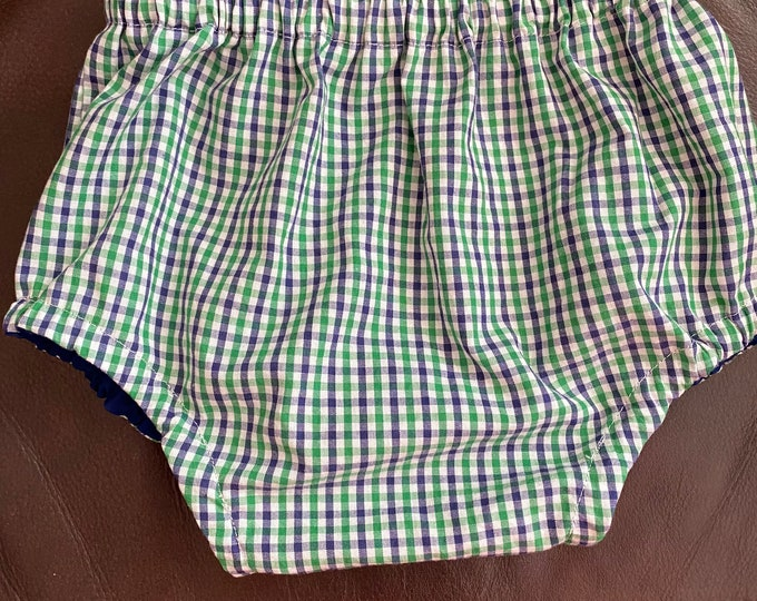 size 2T Gender Neutral BloomersDiaper Cover in Navy-Green-White Tricheck