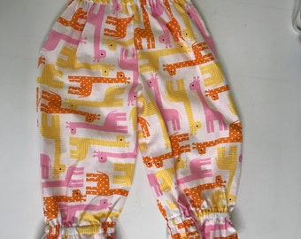 Toddler Girls Giraffe Print Ruffle Pants - size 2T