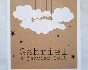 Scandinavian vintage cloud - personalized christening or birth announcements