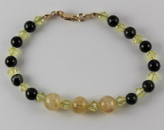 Kelly Tourmaline and Citrine with Swarovski Crystals for Protection and Energy Bracelets