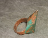 Raw thorn ring, dangerous and elegant statement ring, green patina on copper ring. one