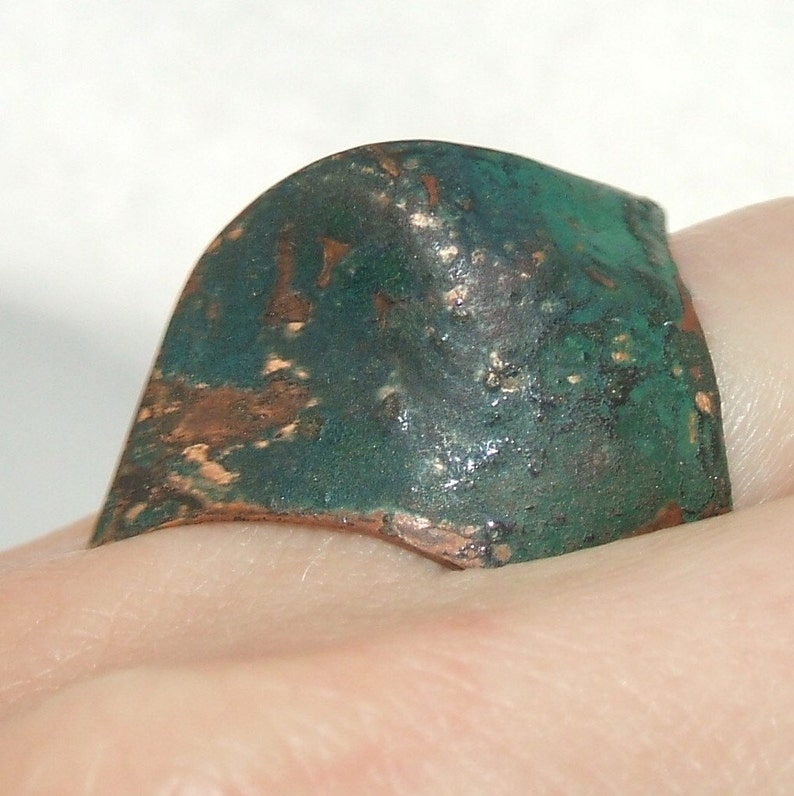 green wave shape fits the finger perfectly. enamel and patina on copper Big asymmetric ring
