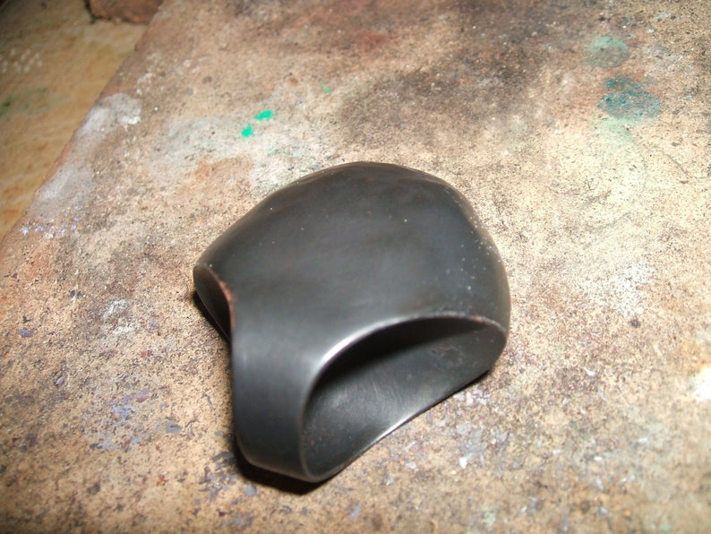 oxidized black copper hollow and light weight ring. Nordic statement ring bubble shaped very big ring