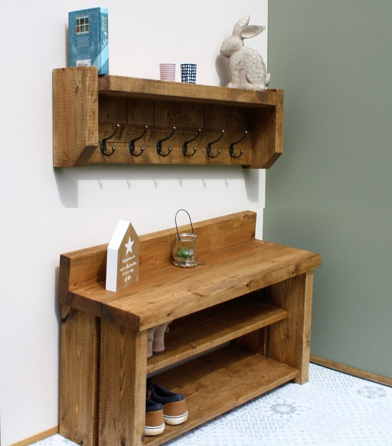 bench Shoe rack with seat and matching rustic shelf with coat pegs coat rack