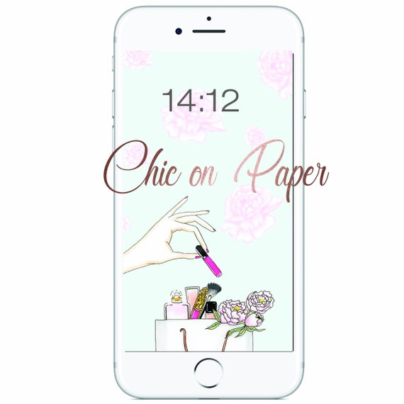 Phone Lock Screen And Home Screen Wallpaper Iphone Background Instant Download Fashion Print Girl Digital Download Art Make Up