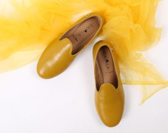 Yellow Leather Zahir Shoes