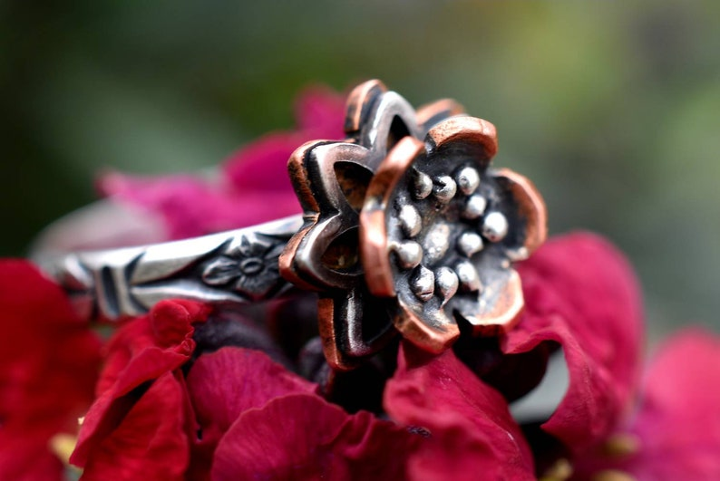original engagement ring Silver and copper Lotus flower ring engagement ring