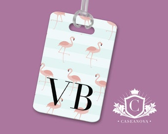 Red Flamingo Team Floral Luggage Tag Label Travel Bag Label With Privacy Cover Luggage Tag Leather Personalized Suitcase Tag Travel Accessories