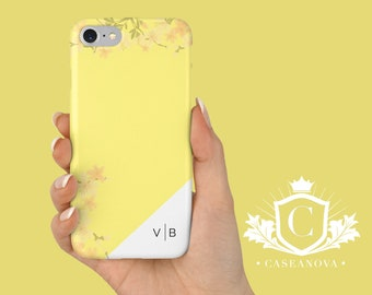 Yellow, Cherry Blossom iPhone 7 case, iPhone 8 cases, Personalised Phone Case, Custom Initials, iPhone SE, 5S, 6, X, Samsung S9 - CN-288