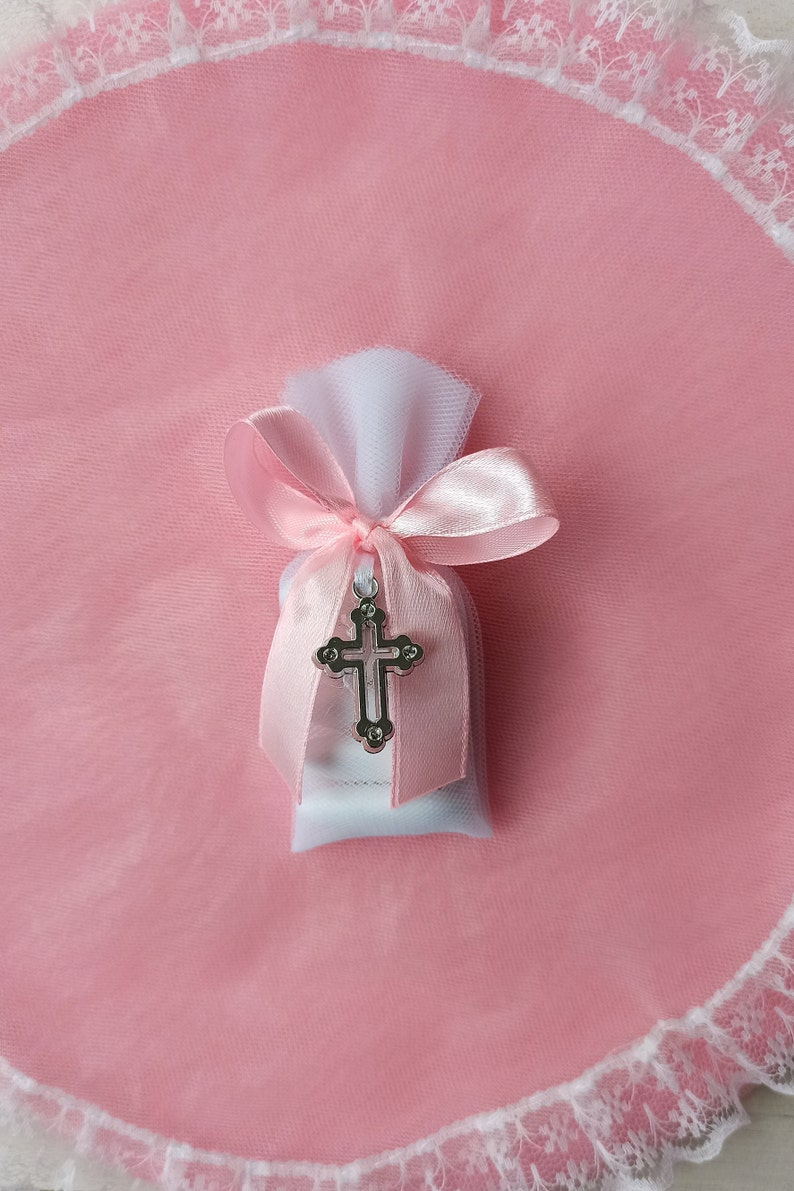 italian Bomboniere with sugared almonds 10 almond baptism  christening favors White pouches with cross