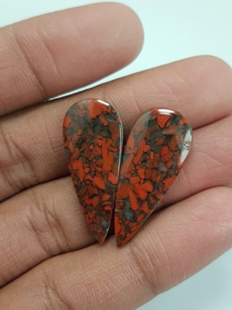 Red Brecciated Jasper Pear,Natural Brecciated Jasper Smooth Loose Gemstone,Gorgeous Brecciated Cabochon Gemstone,31x13x4 mm,25.8 Cts