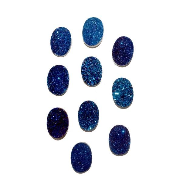 2 pièces 13 × 18 MM saphir bleu ovale Druzy, sapphire Titanium assorti bleu Druzy, paire, bleu bijoux ovale druzy, druzy, druzy cabochons.