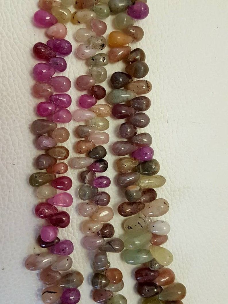 "Natural Gemstone Beads Teardrop Briolette Drop Gemstone Faceted 5/""Inch Strand"