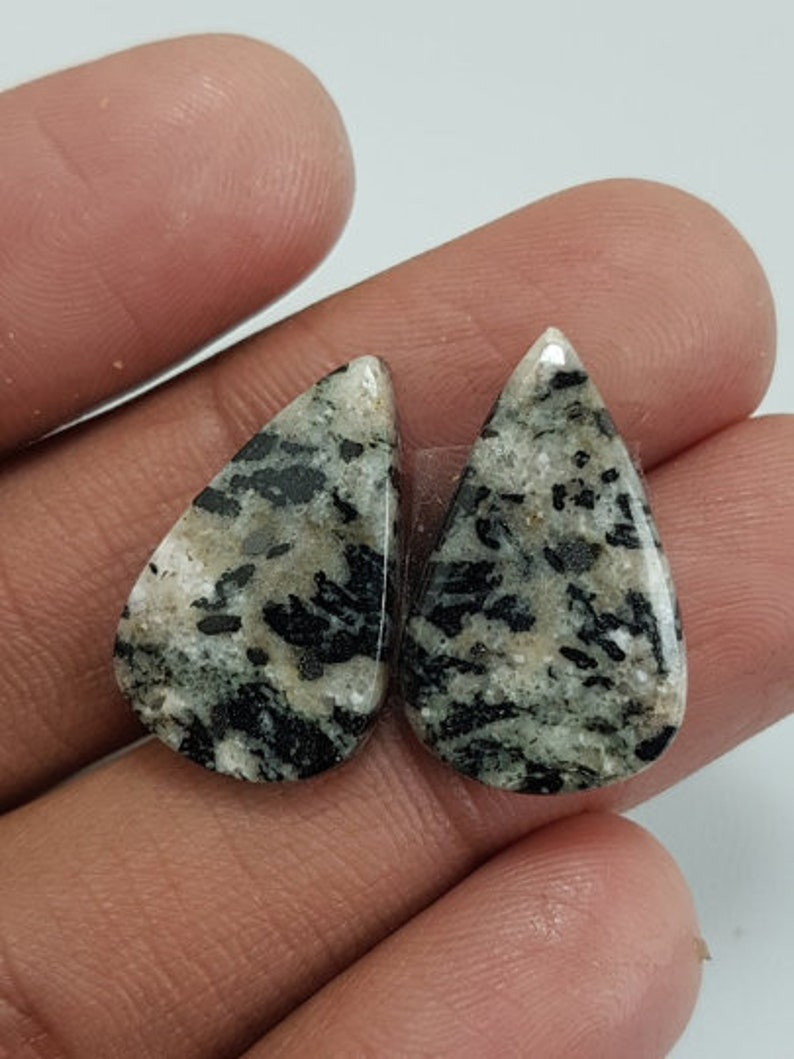 Honey Dendritic Opal Pear Cabochon,Natural Dendritic Opal Smooth Loose Gemstone,Gorgeous Quality Opal Matched Pair Cabochon,24x15x5 mm