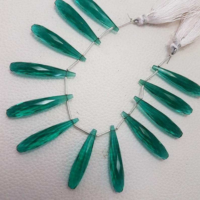 Paraiba Green Quartz Faceted,36 MM,Loose Gemstone Elongated Tear Drop,AAA Grade High Quality Elongated Tear Drop Briolettes,6 Inches