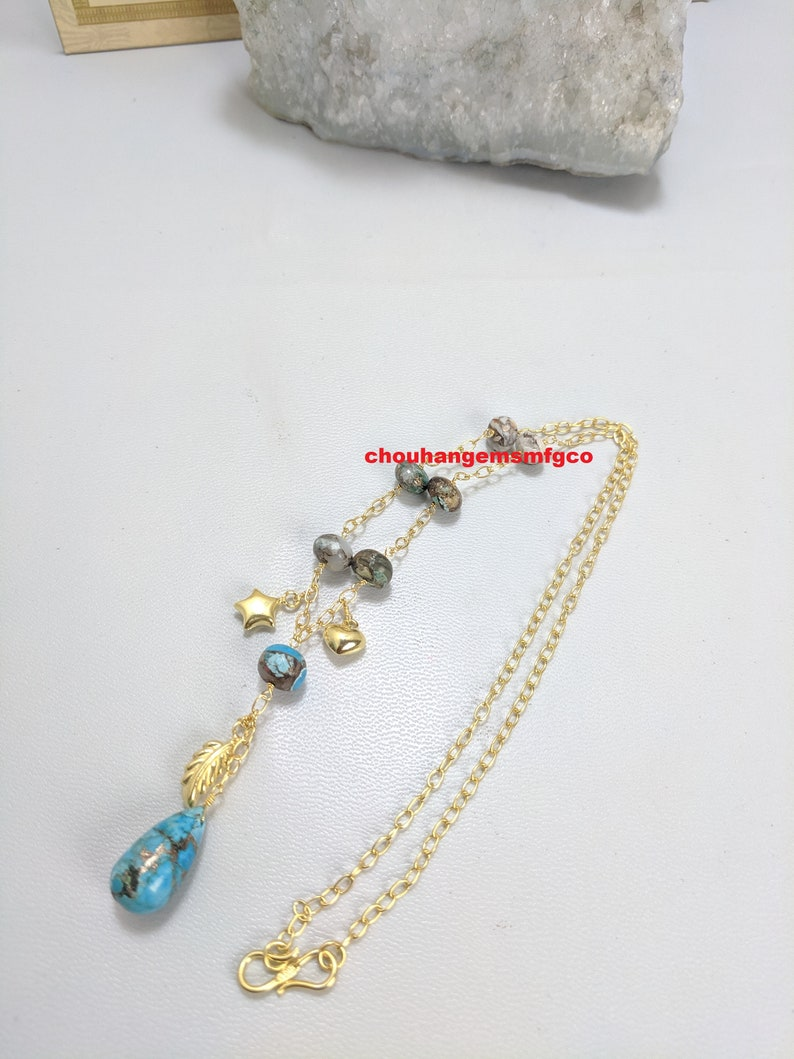Natural Sky Blue Copper Turquoise Chain Necklace,Multi Turquoise Necklace,925 Sterling Silver 22 Carat Gold Plated Necklace,6-18mm,20 Inch