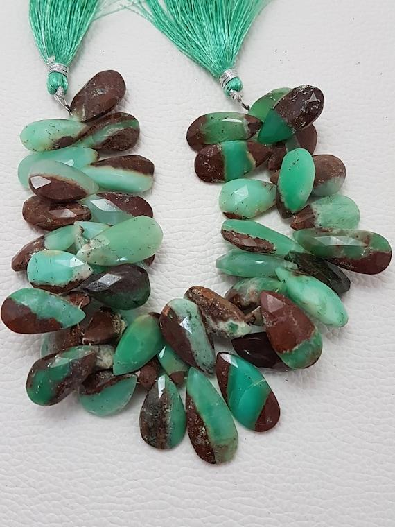 Poire de Chrysoprase facettes d'amande BIO perles briolettes, AAA qualité bio chrysopras poire, briolettes de poire bio chrysoprase, 18-23 mm, 9'' pièces 47