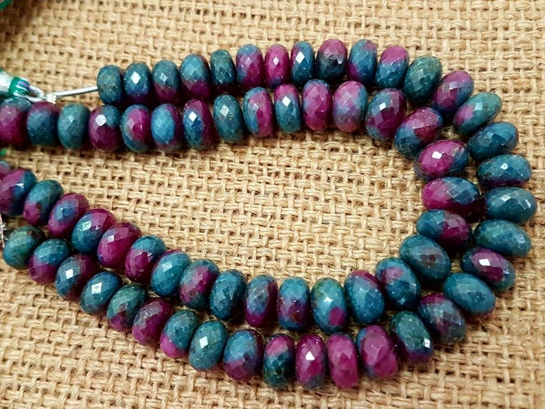Natural Ruby Zoisite faceted beads,ruby Zoisite faceted beads,high quality faceted ruby zoisite Rondelles beads 10mm size 8 inches strand