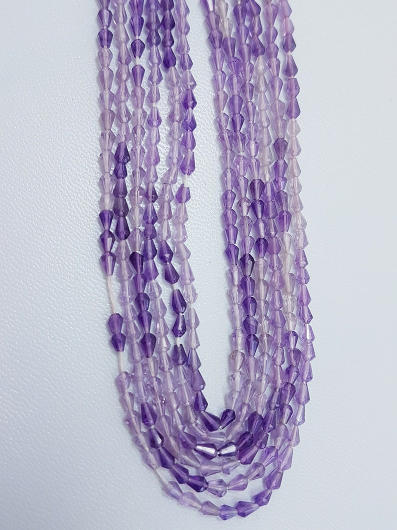 Amethyst,Natural African Amethyst Top Vertical Dew Drop Beads,Amazing Quality Amethyst Briolettes Beads,Size 3.5-4.5 mm,15 Inches Strand