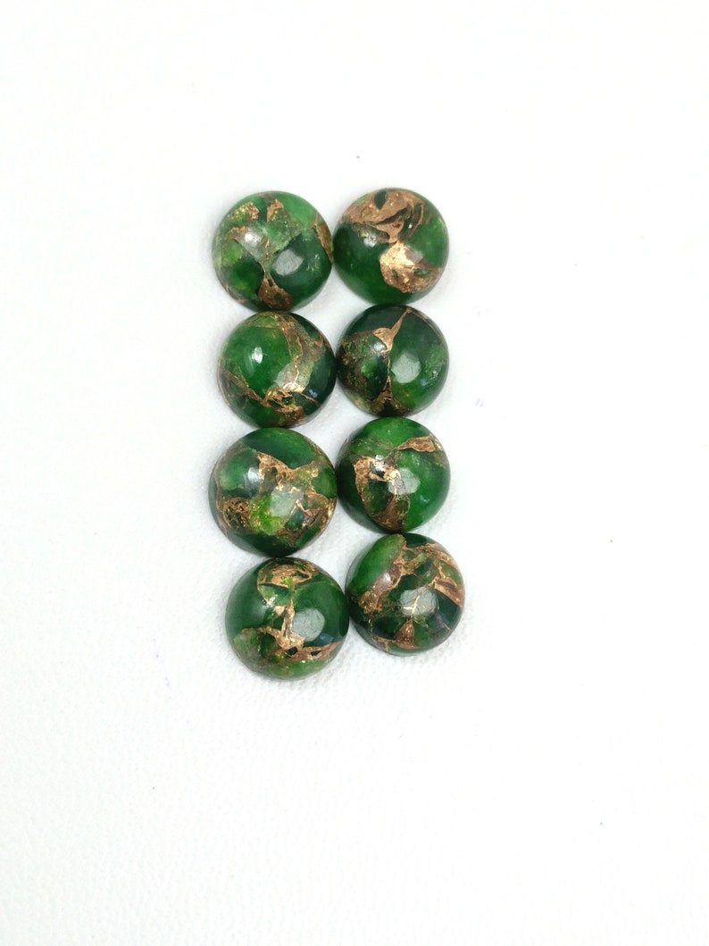 10 Pieces Copper Green Turquoise Cabochon,Rare Green Copper Turquoise Smooth Round Shape Briolettes,Copper Turquoise Gemstone,Size 10 mm