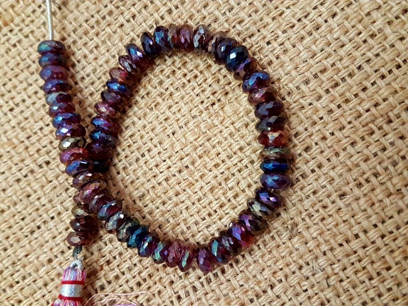 Natural Garnet coated faceted beads,AAA quality faceted Rondelles beads,coated garnet faceted rainbow beads 7mm size 8 inches strand