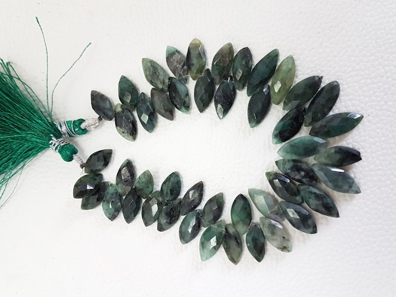 Natural Zambian Emerald Faceted Marquise Beads,Zambian Emerald Faceted Beads,AAA Quality Zambian Emerald MarquiseBriolettes Beads,13-18mm,8