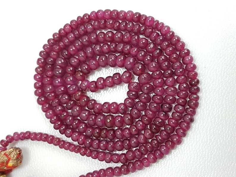 Ruby Smooth Rondelles,Natural Ruby Dyed Beads,Hot Pink Ruby Smooth Rondelles Shape Beads,Amazing Quality Ruby Beads,Size 3-5 mm,8 Inches