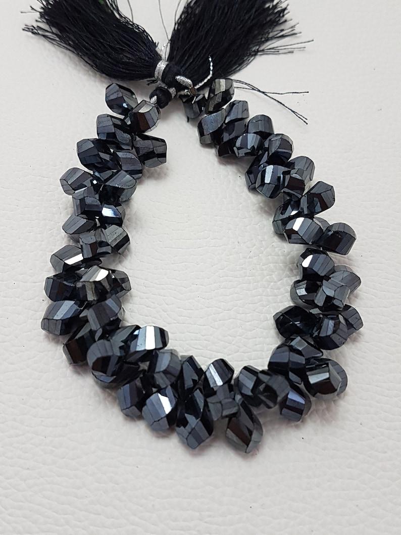 Black Spinel Fancy Shape   faceted beads,Black spinel fancy beads,AAA quality faceted black spinel briolettes 10-11 mm 9 Inch
