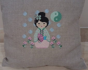 """Green Kokeshi"" Embroidered Pillow"
