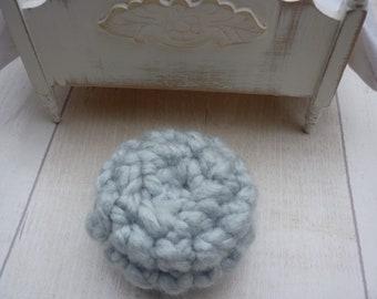 1:12 pouffe footstool ottoman dollhouse miniature roombox diorama green/blue duck egg