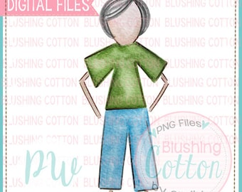Stick Figure Adult Male Grey Hair Watercolor PNG Artwork Digital File - for printing and other crafts