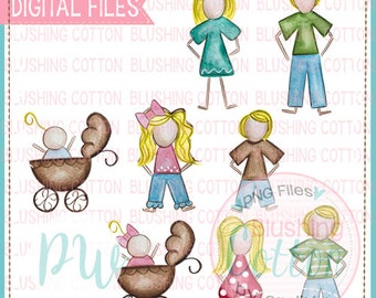 Stick Figure Blonde Hair Family Watercolor PNG Artwork Digital File - for printing and other crafts