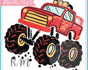 Red Monster Truck Watercolor PNG Artwork Digital File - for printing and other crafts