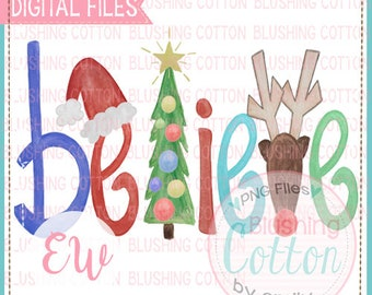 Believe Boy Christmas Design Watercolor PNG Artwork Digital File - for printing and other crafts