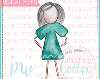 Stick Figure Adult Female with Gray Hair Watercolor PNG Artwork Digital File - for printing and other crafts