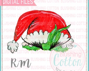 Green Monster Santa Hat Design  PNG Watercolor Artwork Digital File - for printing and other crafts