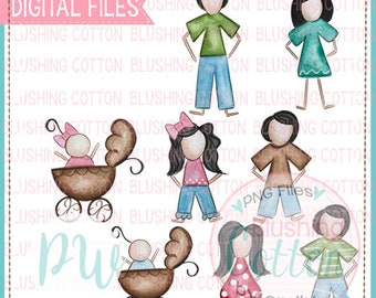 Stick Figure Black Hair Family Watercolor PNG Artwork Digital File - for printing and other crafts