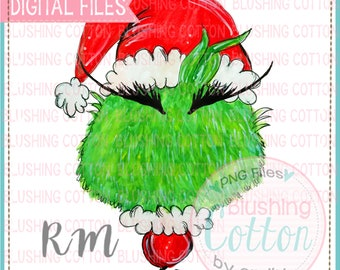 Green Monster Ornament Bushy Brow Design  PNG Watercolor Artwork Digital File - for printing and other crafts