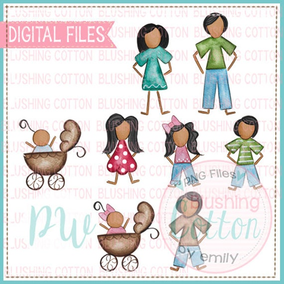 Stick Figure African American Family Bundle Watercolor Png Artwork Digital File For Printing And Other Crafts