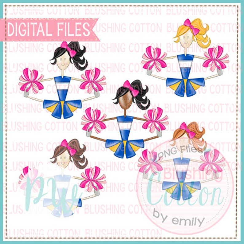 Cheerleader Bundle Royal and Yellow with Pink Pompoms Design PNG Artwork Digital File for printing and other crafts BCPW
