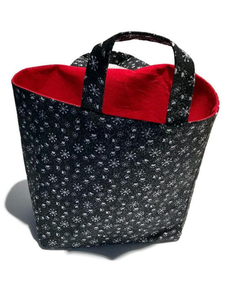 Christmas dog photo fabric reusable gift bag